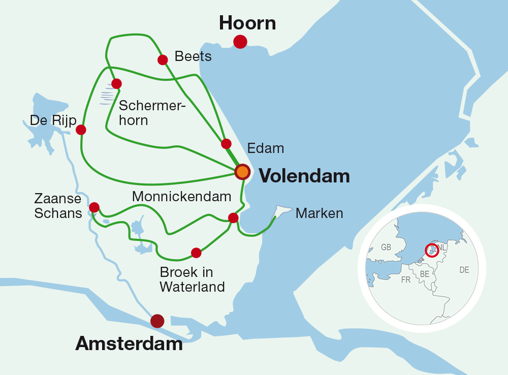 Map The Netherlands. Cycling holiday: Back to the Golden Age.