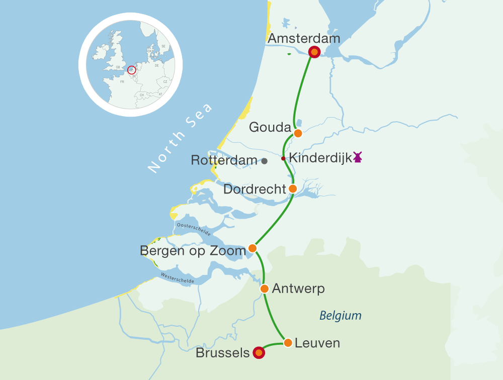 Map Cycling Holidays Amsterdam – Brussels