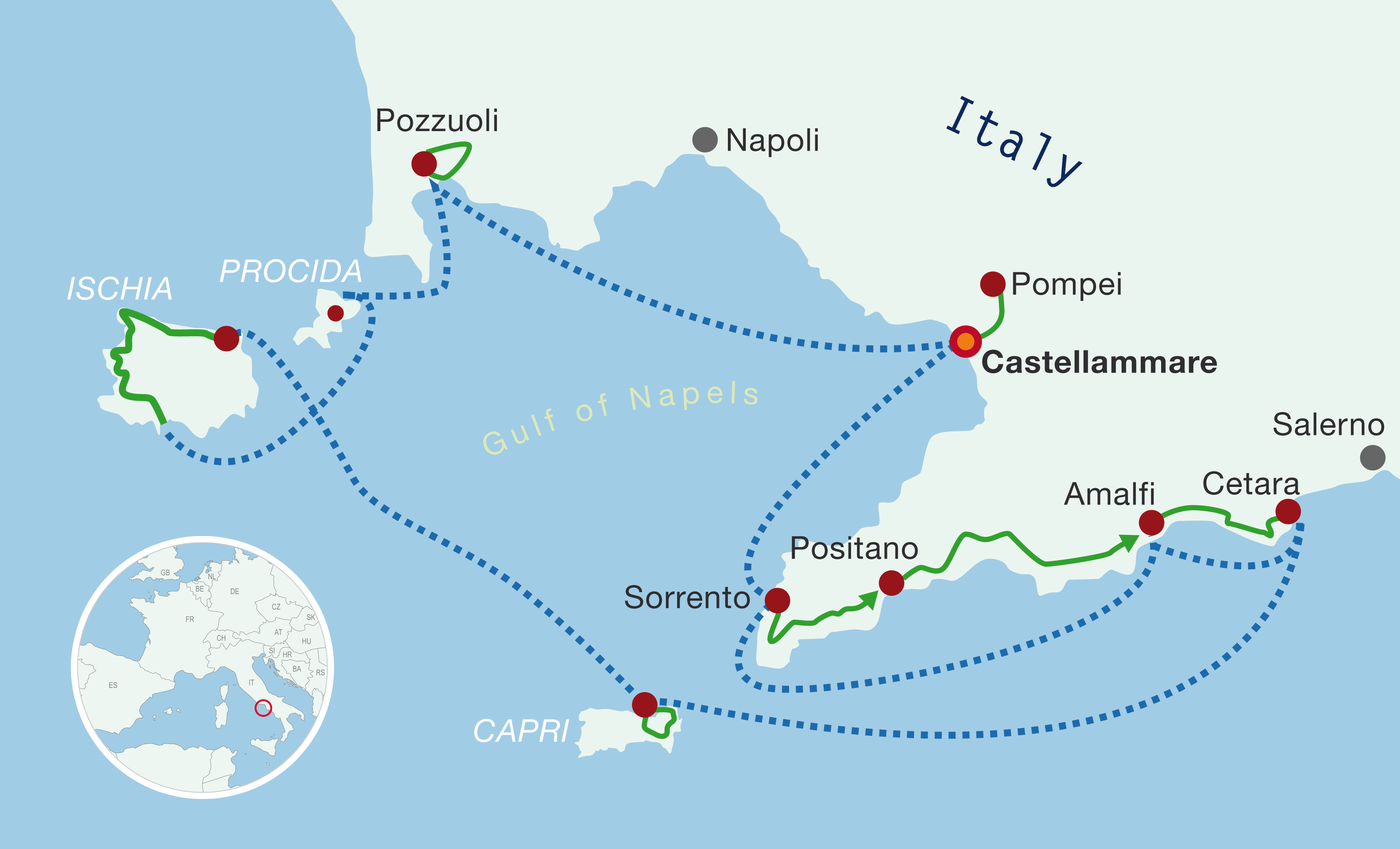 Map boat bike tours Amalfi Coast