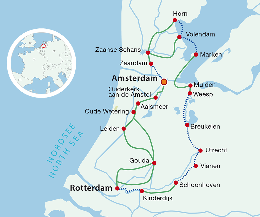 Map cycling holidays Best of Holland