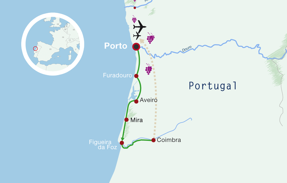 Map Portugal Cycling Holiday