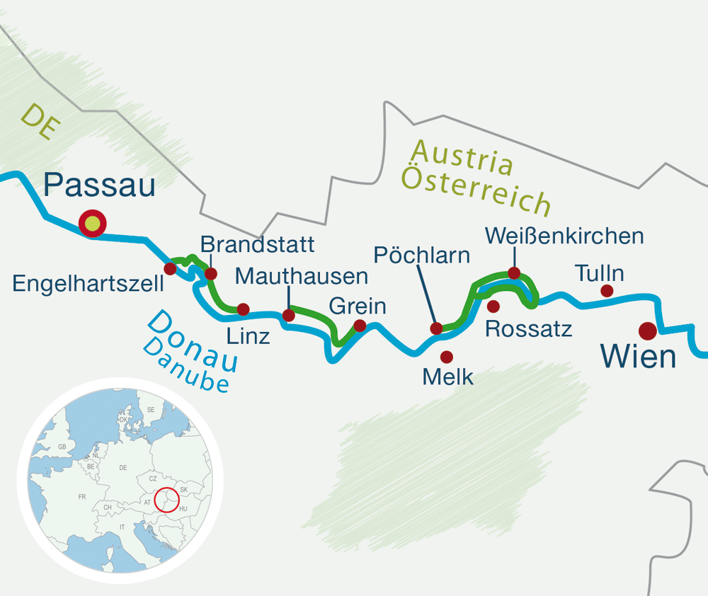 Map Danube bike tours