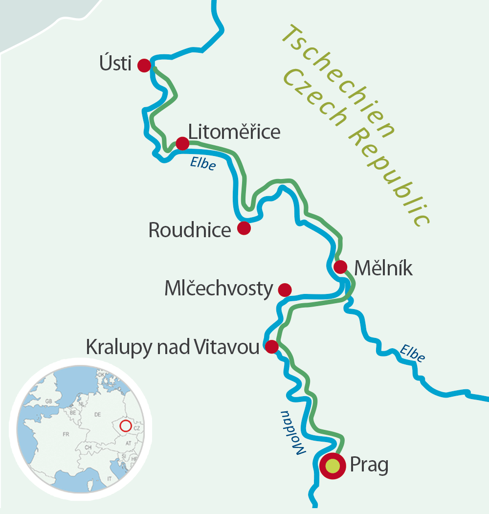 Map with Bike and Barge from/to Prague