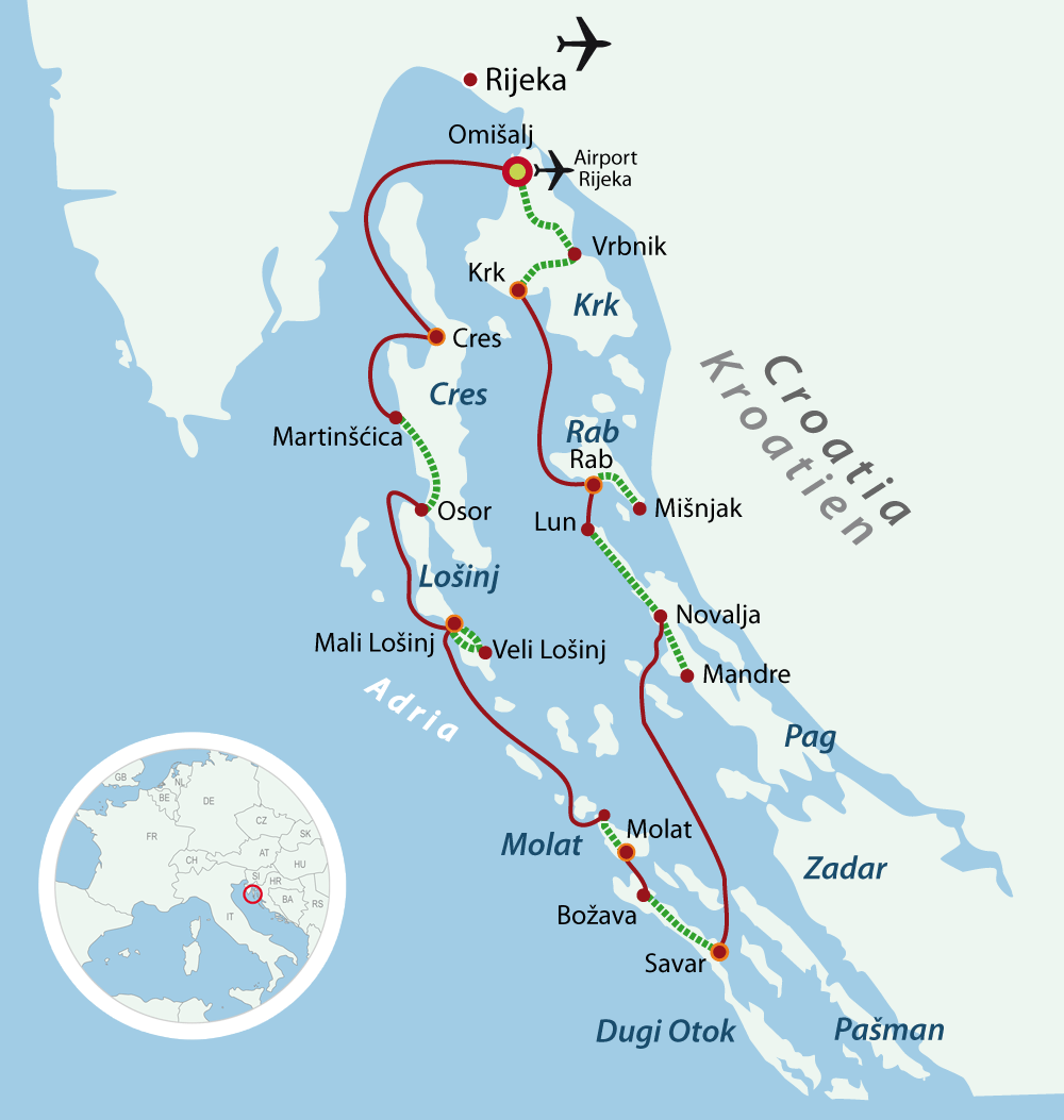 Map boat bike tours kvarner Bay
