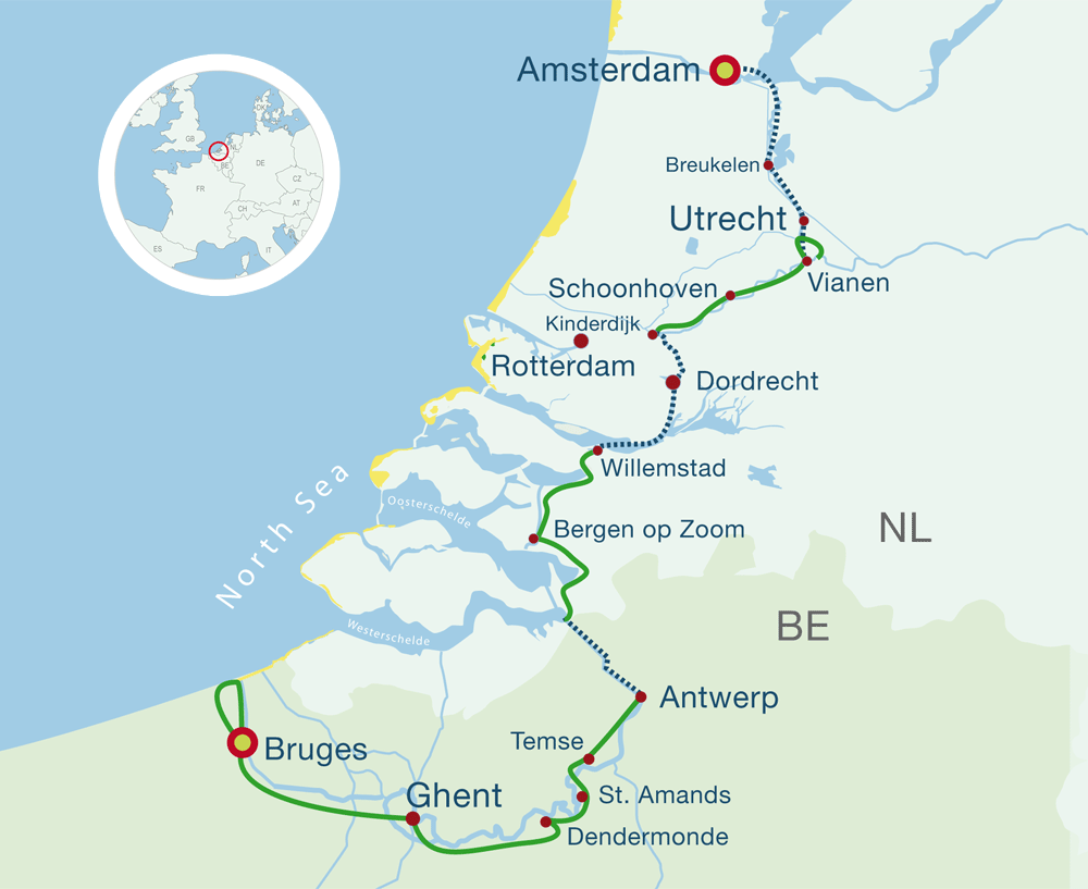 Map amsterdam cycling holidays