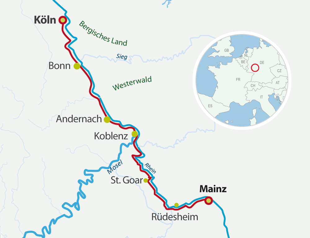 Map bike cruises along the rhine
