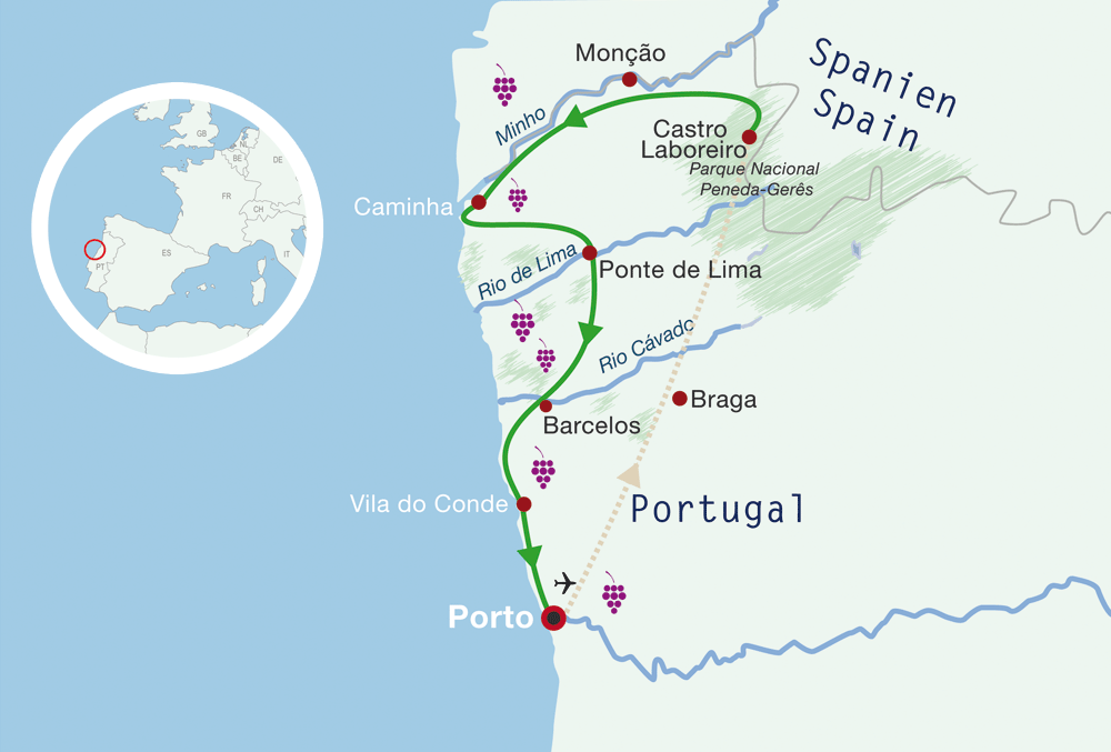 Map Portugal Cycling Holiday Minho and Porto