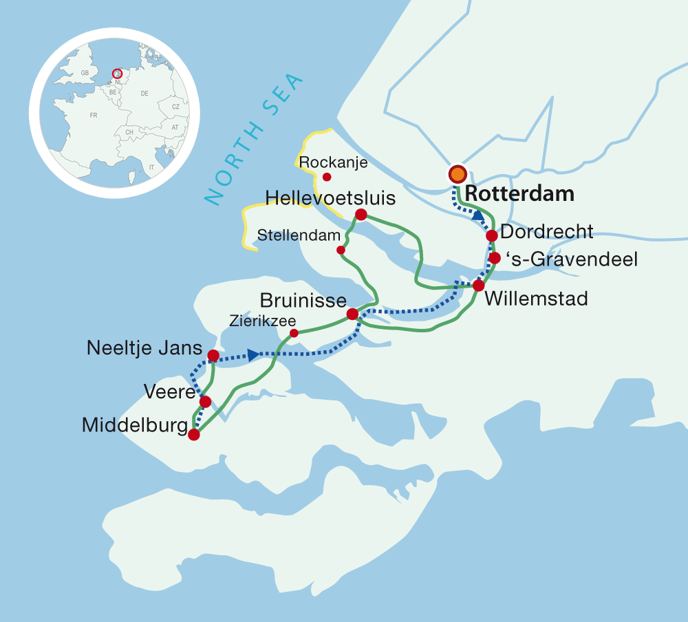 Map Bike & Barge from Rotterdam to the 