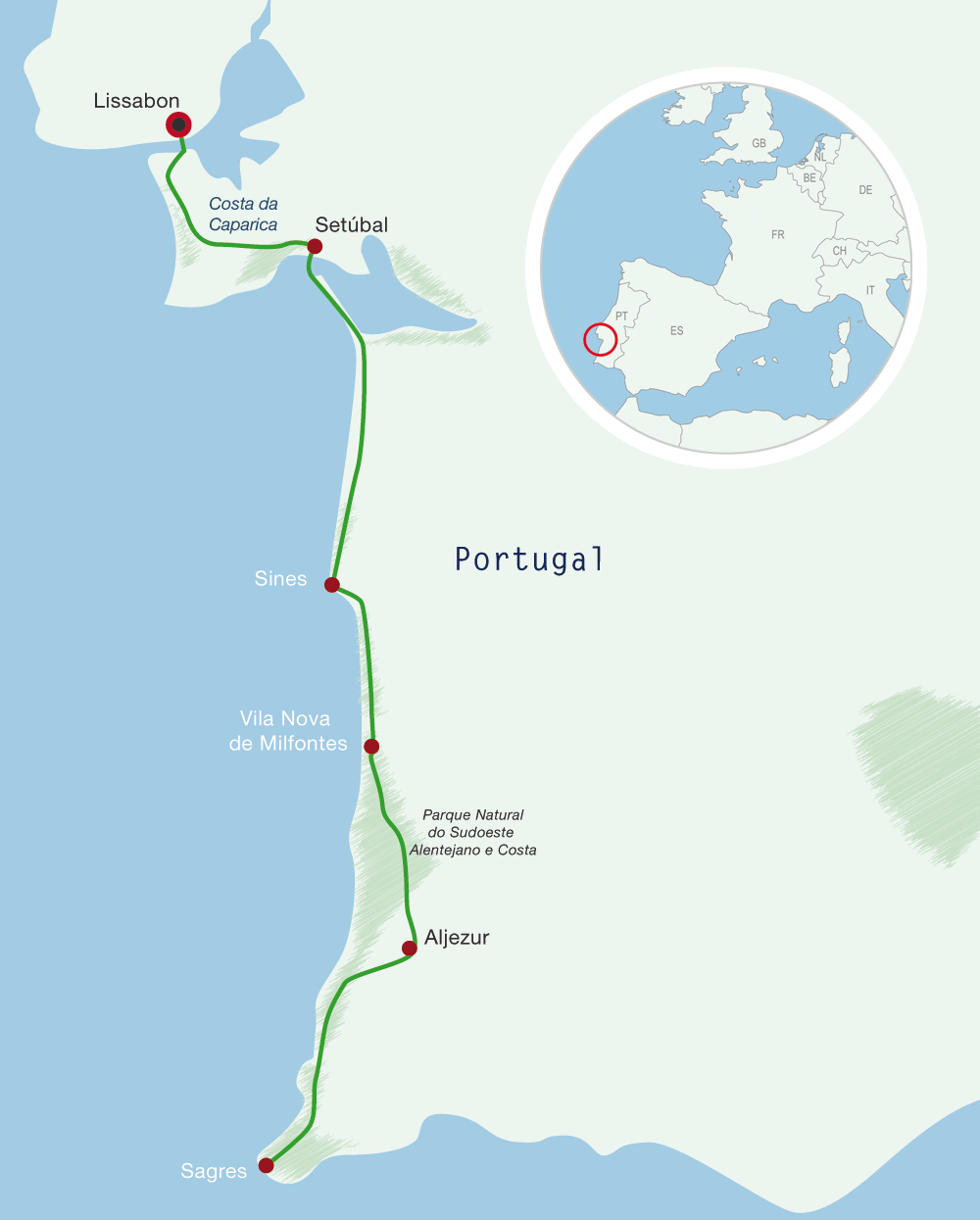 Map Portugal Cycling Holiday Atlantic Cost