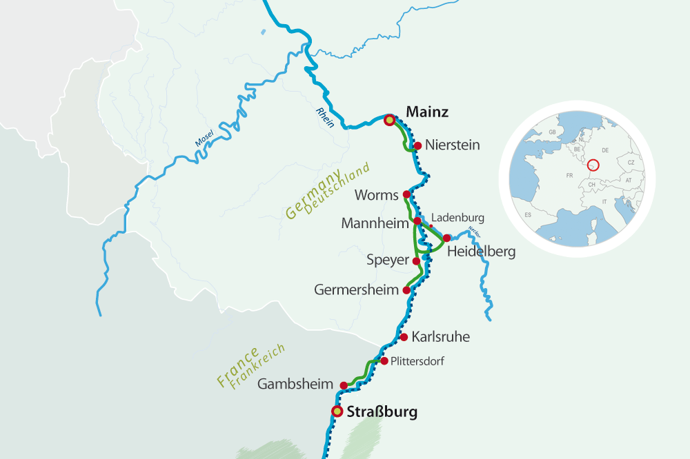 Map bike cruise rhine valley