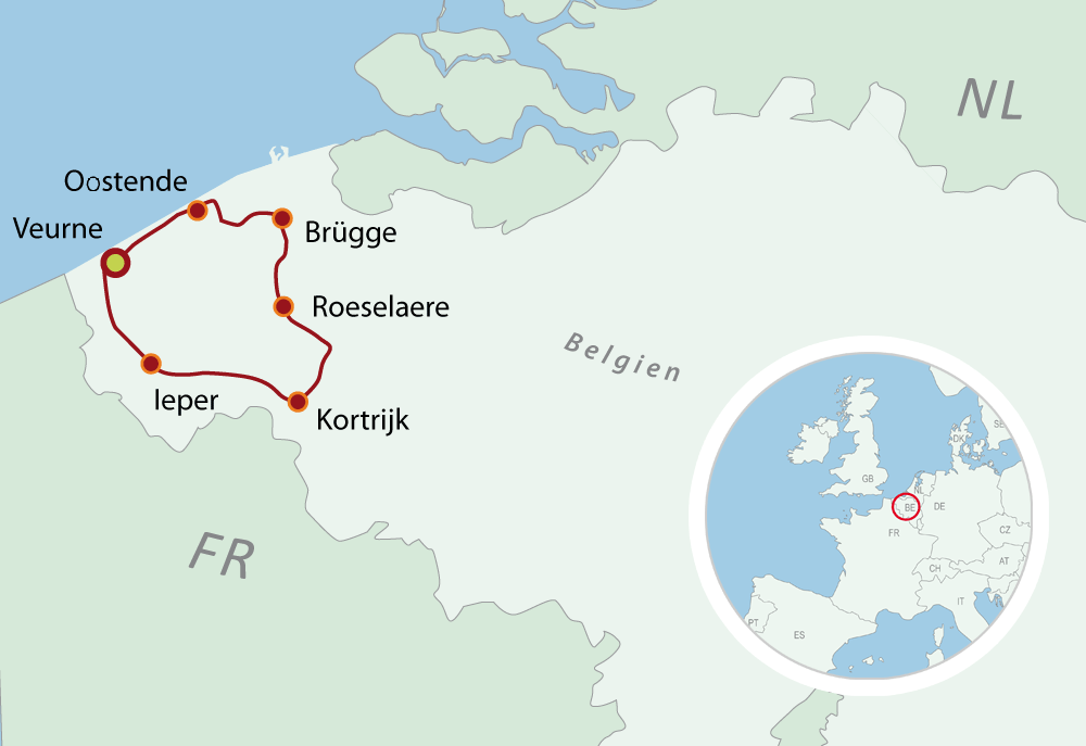 Map Bike Tour Belgien