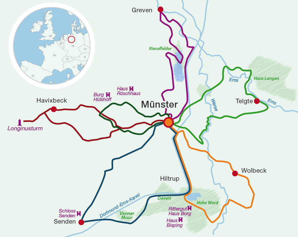 Map cycling holidays Westphalia
